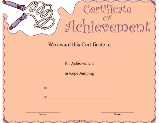 This Rope Jumping Achievement certificate features a rolled-up jump rope. Appropriate for Double Dutch or other rope skipping competitions. Free to download and print