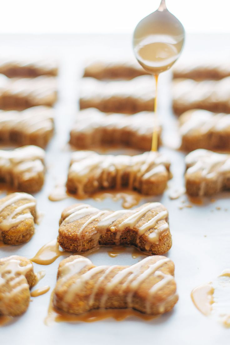 Homemade Dog Treats - super easy with just 5 ingredients: peanut butter, pumpkin, whole wheat flour, eggs, and oil. Drizzled with PB bacon glaze!