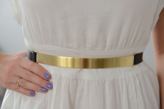"""thing gold belt + Essie """"boxer shorts""""    #cupcakesandcashmere"""