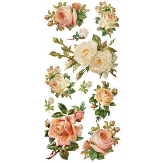 1 Sheet of Stickers Pink and White Roses