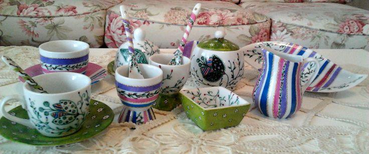 Breakfast set, hand painted by Handmade Sister (www.handmadesister.blogspot.ro)