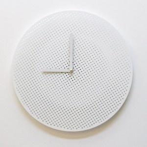 Modern Clock. All white everything.