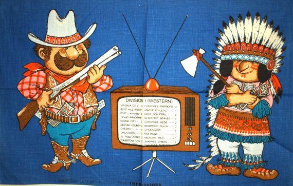 Vintage Western League Wild West Tea Towel  Kitsch by FunkyKoala