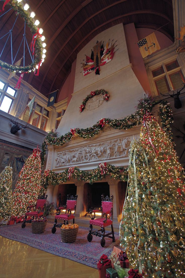 7-story fireplace inside Biltmore House in the Banquet Hall ready for Christmas.