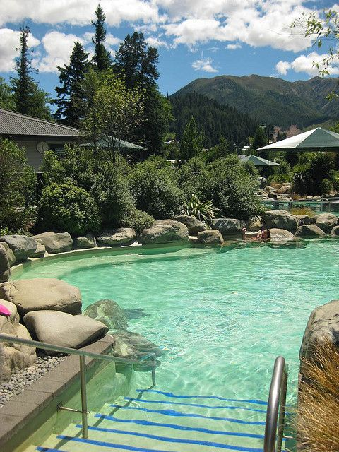 Hot natural Spa in Hanmer Springs, South Island, New Zealand - great any season, including snowfall sometimes in winter!