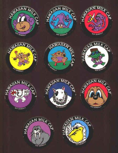 HAWAIIAN MILK CAPS (Worlds of Fun, BENJY, 1993): Smooth surface, Lot of 11 different, includes Purple monkey (3), Spuds McKenzie dog (2), Slammer dog (3), Pelican, Walrus, and a Frog with a wedge haircut and a lot of bling. $3.50