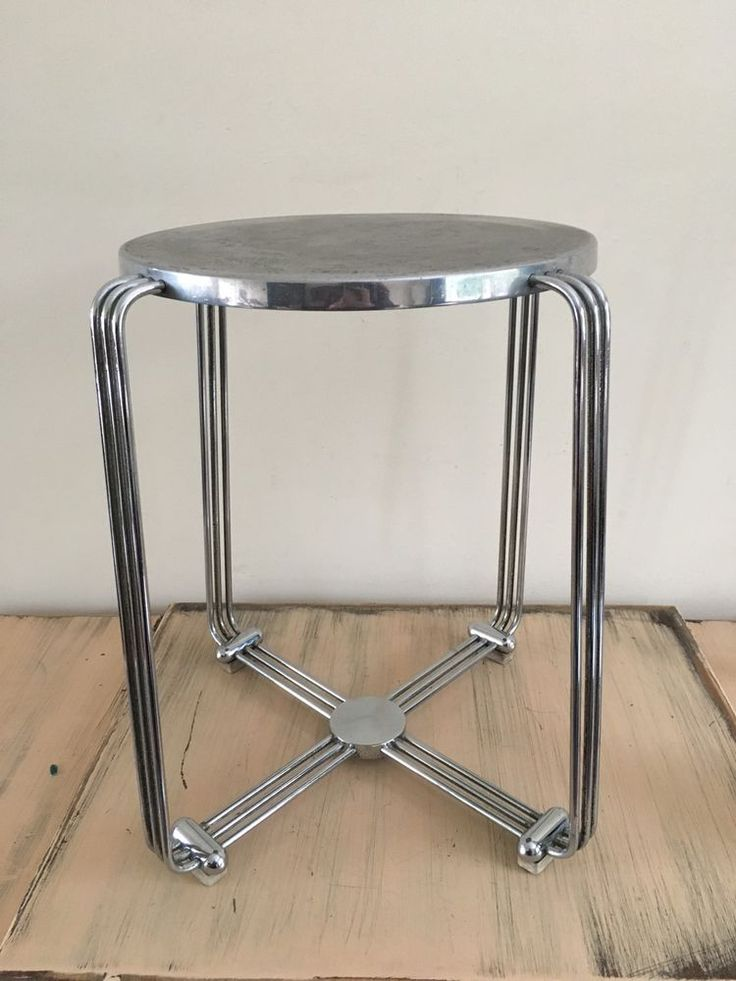 Stylish Art Deco Vintage Chrome Stool Or Small Side Table By Alpex