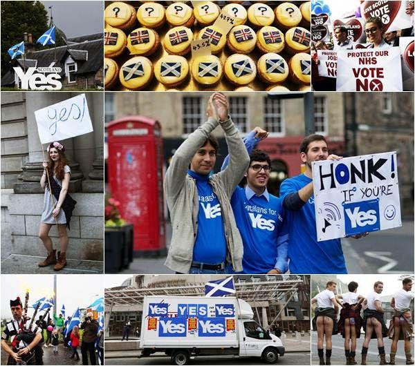 """Hay mucha animación, emoción y pasiones, sobre todo por parte de los secesionistas, los que hacen más ruido y los más dispuestos a explicar, arropados por banderas escocesas y con pancartas, que el futuro de Escocia """"debe estar en manos de los escoceses""""  Archivo / Reuters"""