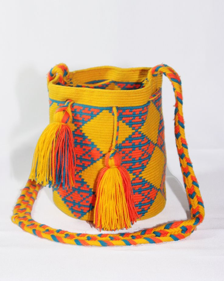 Small Hand-Woven Artesinal Colombian Wayuu Bag (Gold/Orange-Red/Steel-Blue) - Bacano Bags and Hats