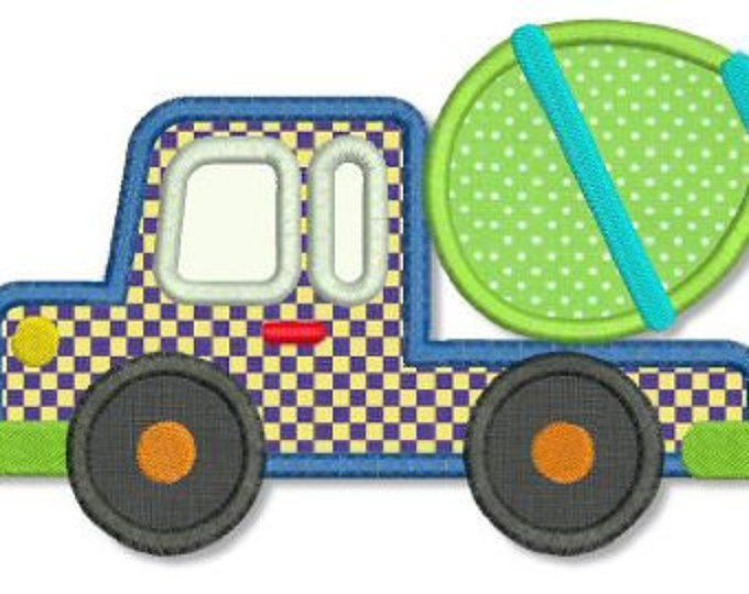 CEMENT MIXER Truck Applique 4x4 5x7 Machine Embroidery Design boy baby INSTANT Download