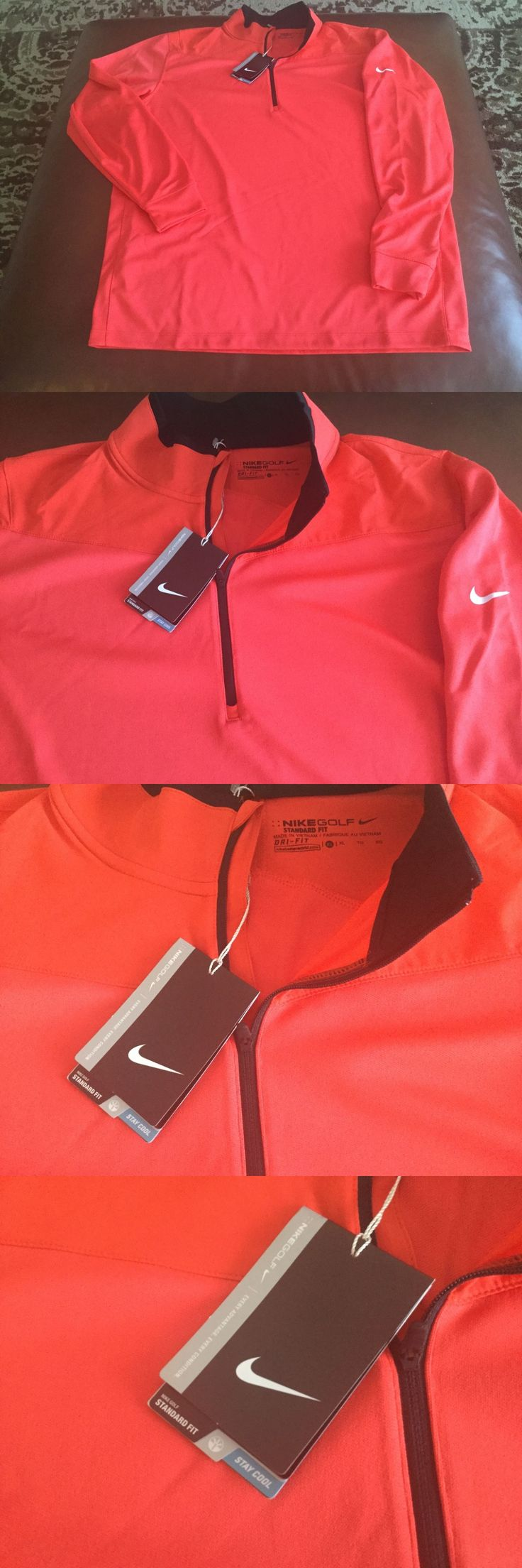 Coats and Jackets 181134: Nike Golf Mens 1 3 Zip Red Pullover Size Xl, Msrp$80.00,Nwt -> BUY IT NOW ONLY: $46.99 on eBay!