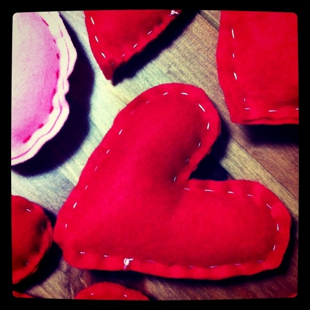 valentine hearts made from felt