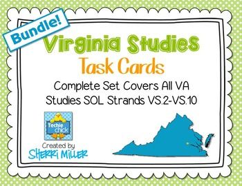Virginia Studies Task Cards Bundle (VS.2-VS.10)! Complete set that covers ALL Virginia Studies SOL!