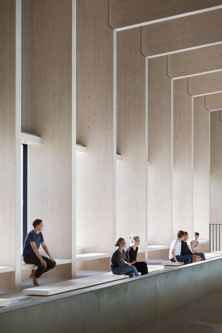 HawkinsBrown uses engineered wood to build school swimming pool