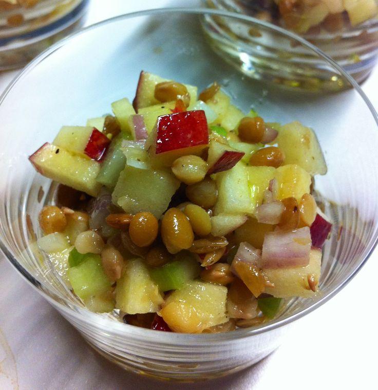 Salade de lentilles aux pommes - Genevieve O'Gleman. Excellente pour un lunch santé et nourrissant.