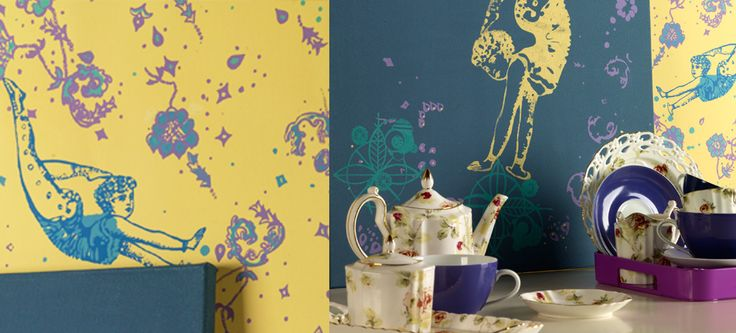 Interiors by surface designer justyna medon #hand screen printed wallpapers #bespoke wallpapers #moondancers www.justynamedon.com