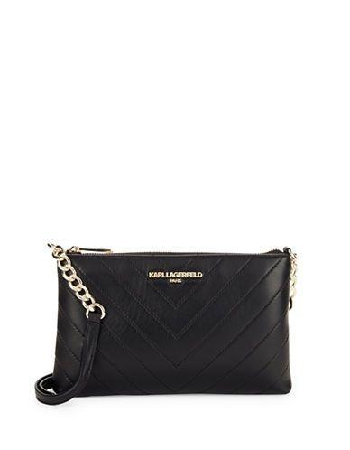 Karl Lagerfeld Paris Gigi Chevron Quilted Leather Crossbody Women's Bl