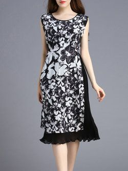 Black Work Floral Crew Neck Midi Dress