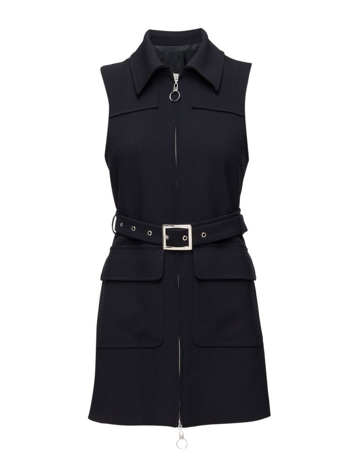 DAY - 2ND Christiana Front zip closure Two front flap pockets Belted waist Point collar Stretch fit Cool Chic Modern Decorative seams Dress Dresses