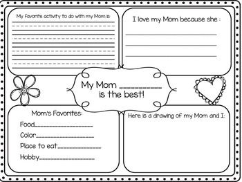 Mother's Day Four Square Writing                                                                                                                                                                                 More