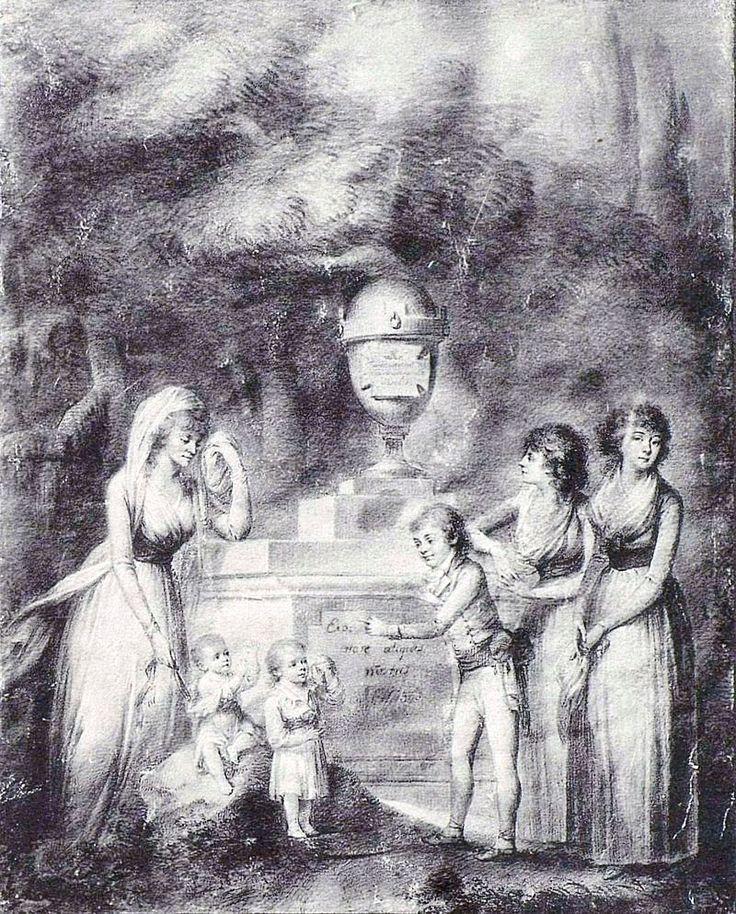 Княгиня Четвертинская с детьми возле урны с прахом мужа.