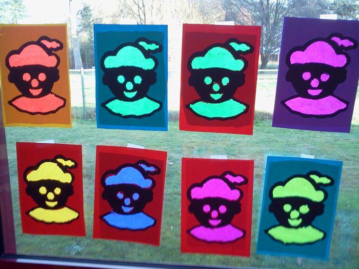 Raampietjes (thema sinterklaas) Sjabloon printen op gekleurd papier. De vlakken laten uitprikken + beplakken met doorzichtig papier