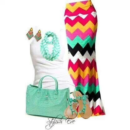 Colourful chevron maxi skirt with white tank top and blue green accents find more women fashion ideas on www.misspool.com