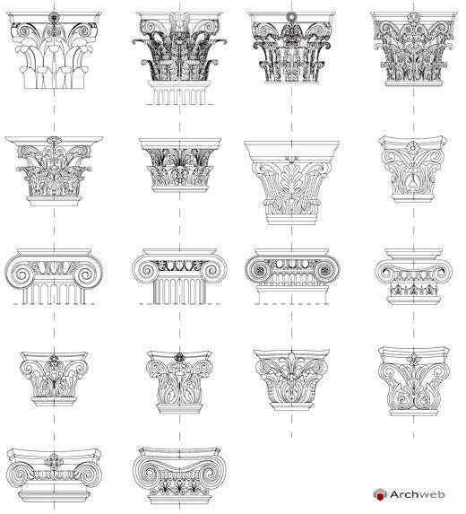 Ordini architettonici - disegni dwg