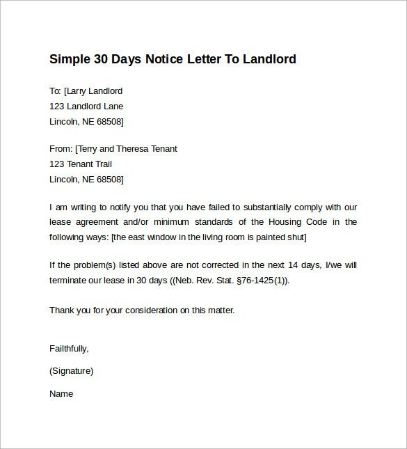 30 Day Notice To Landlord Template Check More At Https Nationalgriefawarenessday Com 13375 30 Day Notice To Landlo Being A Landlord Lettering Resume Template