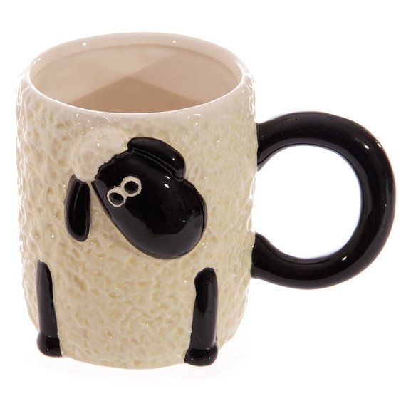 Coffee Mug Novelty Cartoon Sheep Design Ceramic by getgiftideas