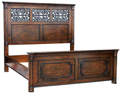 Tuscan Style Bed with High Headboard Rustic Mediterranean Bedroom Furniture Beds