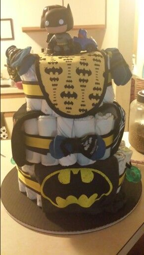 batman baby shower cake | Batman/star wars diaper cake