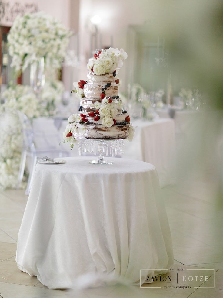 Wedding Cake with roses and berries, beautiful wedding cake