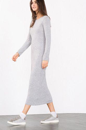 Esprit / Lange, gebreide jurk met kasjmier-touch