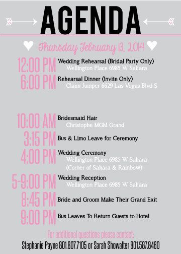 The  Best Wedding Agenda Ideas On   The Check Weekly