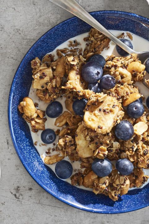 Peanut Butter Banana Bread Granola:  Get your peanut butter fix first thing with this granola recipe—your morning will be better for it.