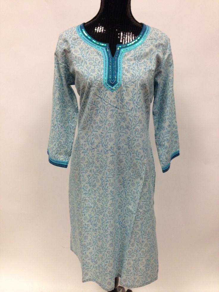 cotton long kurta with legging blue indian tunic top