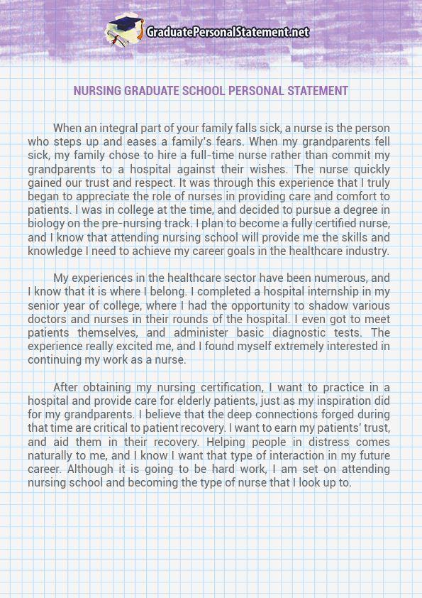 Nursing Graduate School Personal Statement Sample Tips For - personal statement sample