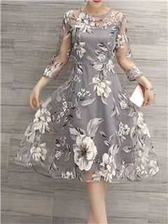 ericdress.com offers high quality Ericdress Flower Print Three-Quarter Sleeve Expansion Casual Dress Casual Dresses unit price of $ 36.09.