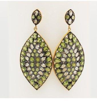 Blue Candy Jewelry Mosaic Peridot Topaz Diamond Drop Earrings.