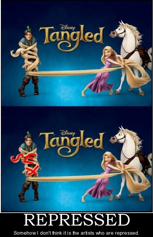 """Tangled  Disney    Imagery: subliminal """"sex"""" in Rapunzel's hair wrapped around Flynn. sexualization of children / pedophilia agenda"""