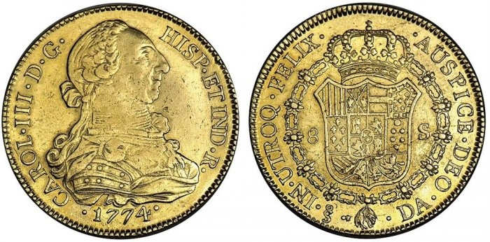 CHILE. Carlos III, 1759-1788. 8 Escudos, 1774 So DA. Santiago. Armored bust r. Rv. Crowned shield in Collar of the Golden Fleece. Cayón 12057, KM 27. Careful search reveals evidence of light cleaning long ago. Extremely Fine. (1,000-1,500)