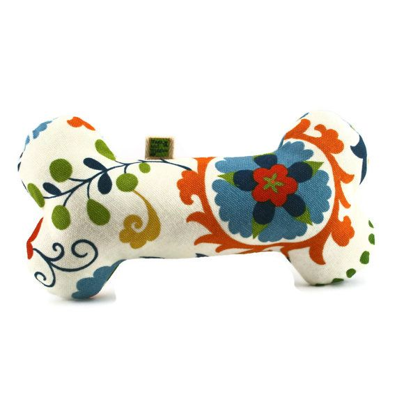 Extra Durable Dog Toy Bone 'DOUBLE FABRIC LAYER by wagsandwiggles, $11.99 - - Beautiful Fabric!