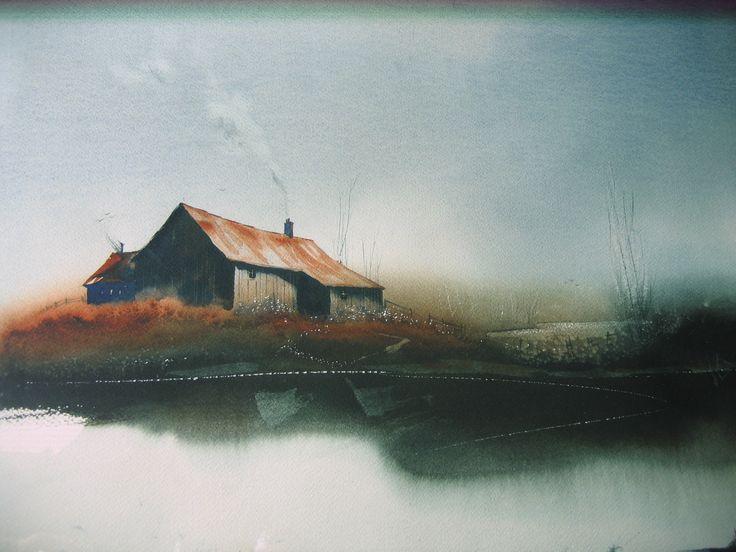 Contemporary Original Watercolor Art Painting Scene Old Farm House ...