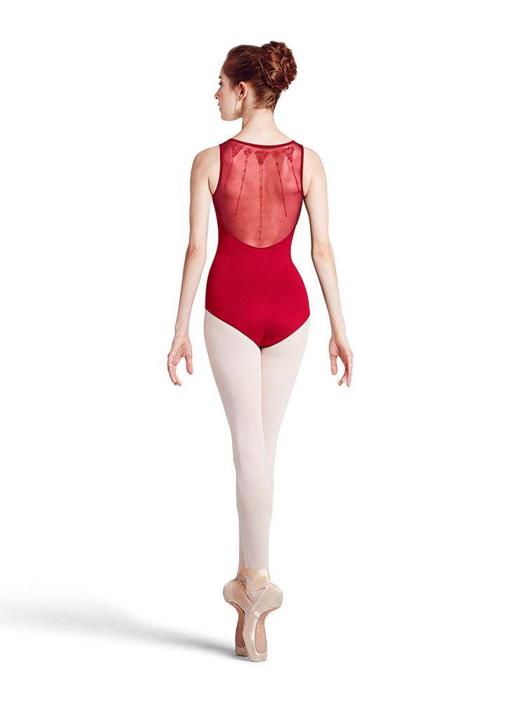 A dancer wearing the majestic queen leotard belongs in a palace. The lovely sweetheart neckline is only the beginning for this enchanting tank leotard. Delicate mesh extends from the neckline over the