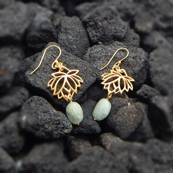 Handmade Jewelry  Lotus Flower Aquamarine Dangling by darlingpiece