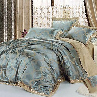4 peças de estilo europeu havana 100% algodão cinza e azul jacquard floral set capa de edredão - BRL R$ 260,45