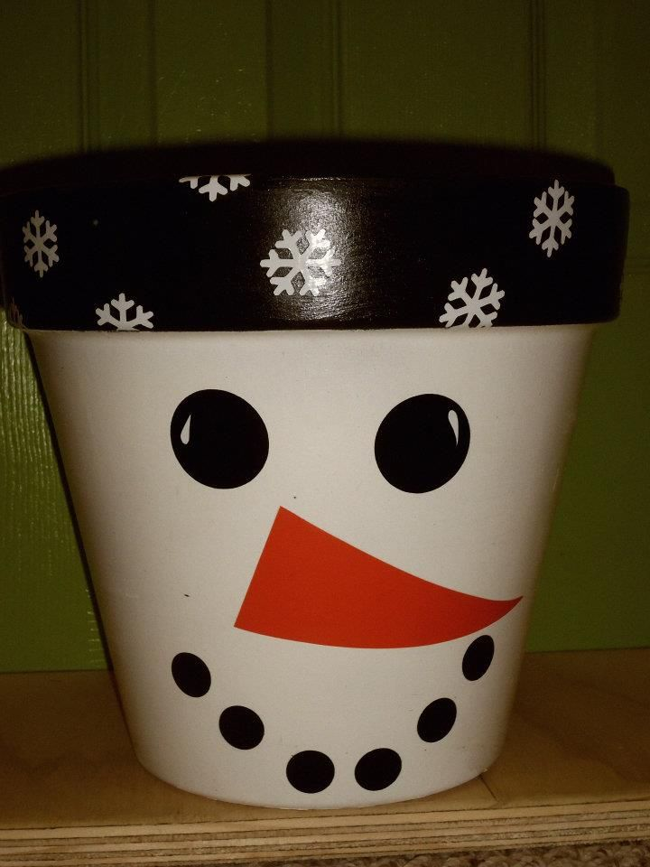 Cute Snowman Clay Pot, would make a great gift container