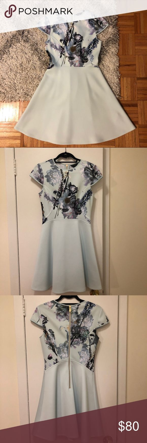 Ted Baker Floral Skater Dress🌸Size 2 (US Size 6) Ted Baker Floral Skater Dress🌸UK Size 2 US Size 4 Worn Once - Perfect Condition.  Light blue color LOVE this dress just have nothing to wear it to now!!  Welcome all offers! Ted Baker London Dresses Mini