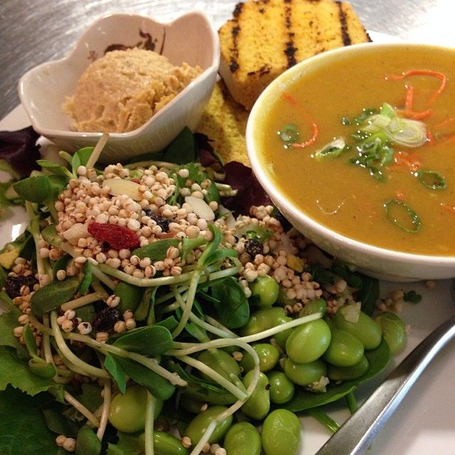 Small soup salad combo with the curried yam and apple purée soup and hummus for the cornbread